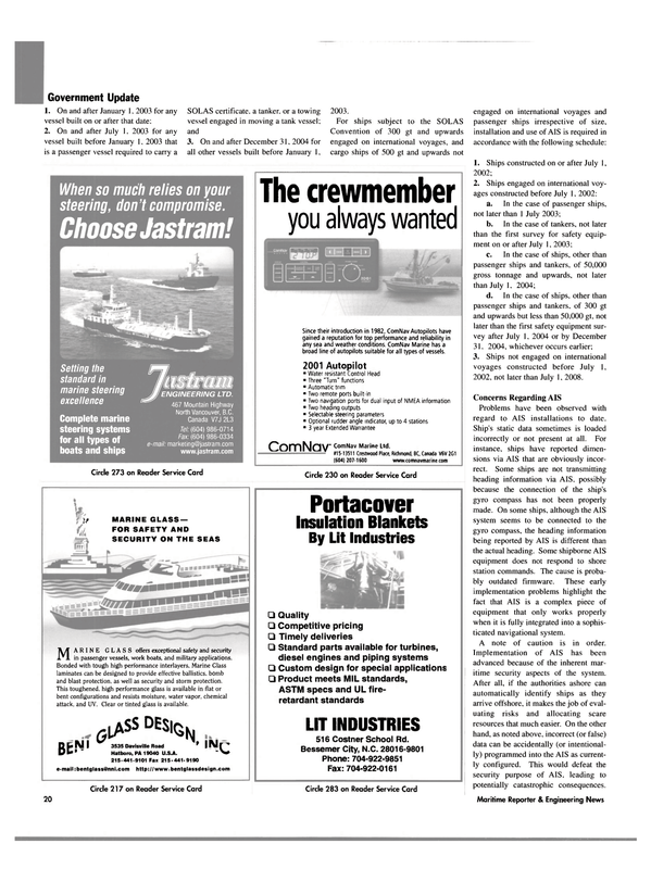 Maritime Reporter Magazine, page 20,  Jun 2003