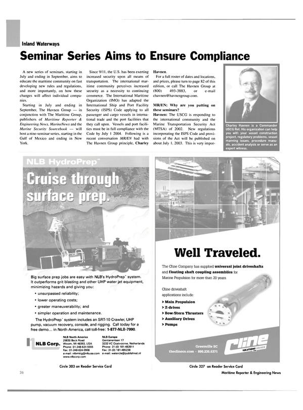 Maritime Reporter Magazine, page 26,  Jun 2003