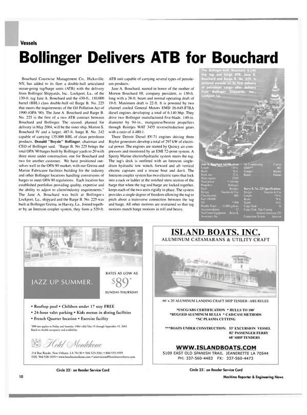 Maritime Reporter Magazine, page 10,  Jul 2003