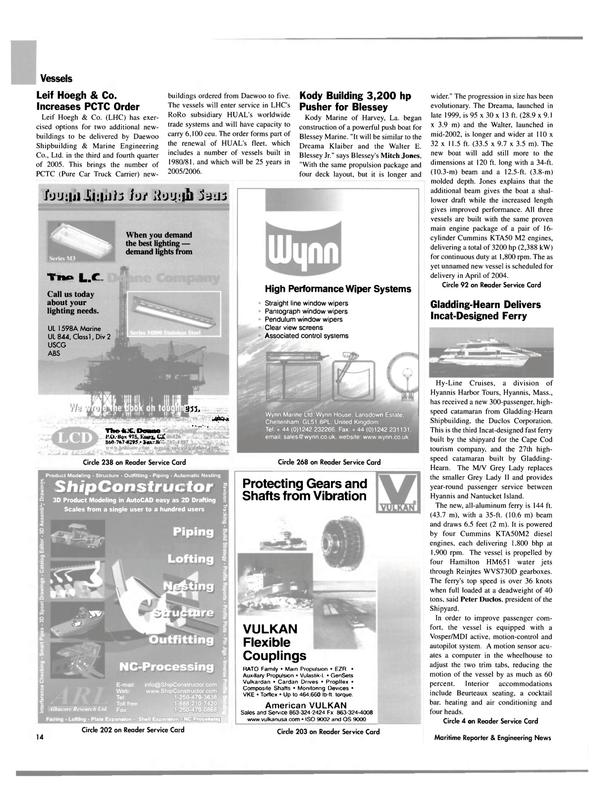 Maritime Reporter Magazine, page 14,  Jul 2003 Dreama Klaiber