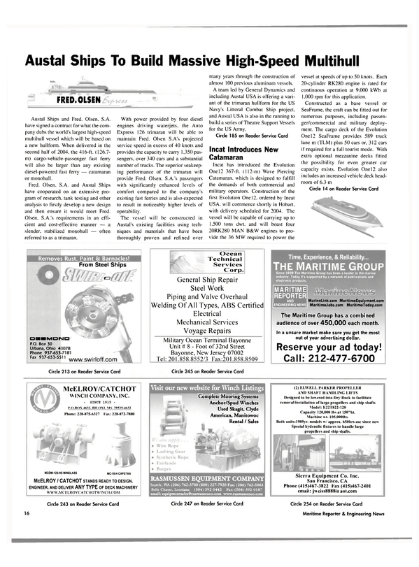 Maritime Reporter Magazine, page 16,  Jul 2003