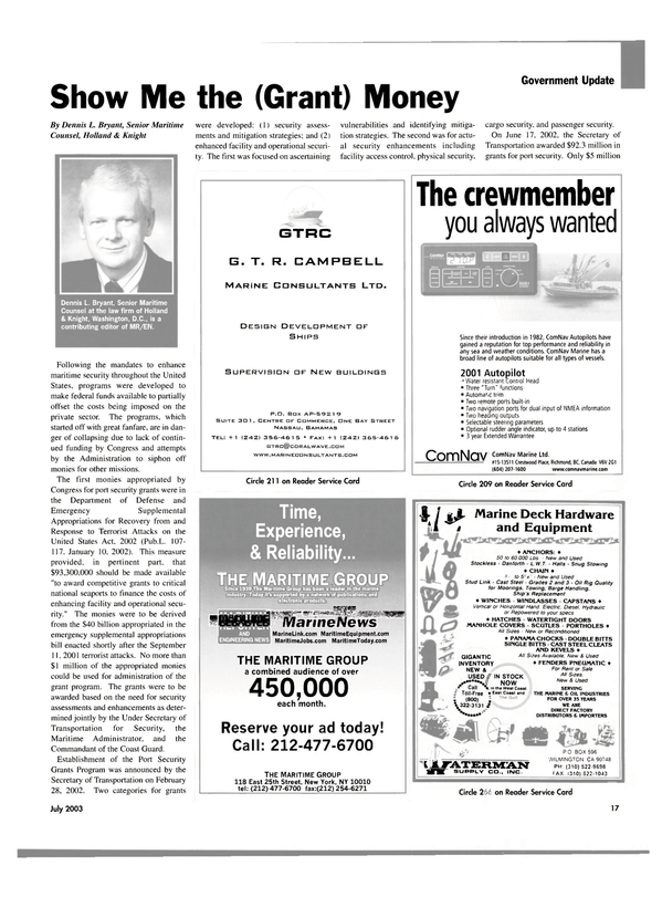 Maritime Reporter Magazine, page 17,  Jul 2003 CENTRE OF COMMERCE