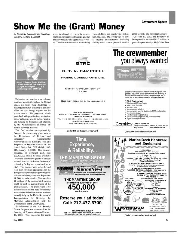 Maritime Reporter Magazine, page 17,  Jul 2003 CENTRE OF COMMERCE