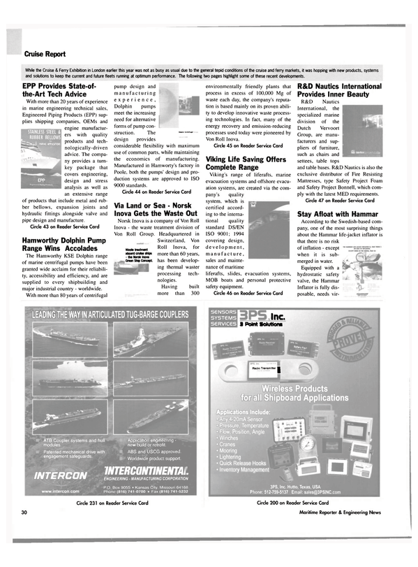 Maritime Reporter Magazine, page 28,  Jul 2003 personal protective safety equipment