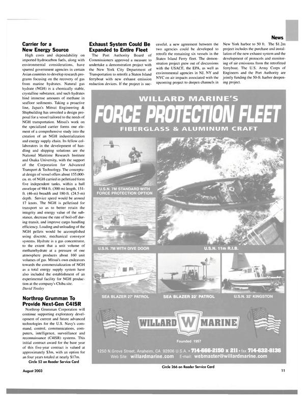 Maritime Reporter Magazine, page 11,  Aug 2003