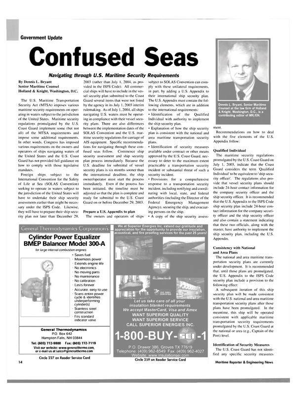 Maritime Reporter Magazine, page 14,  Aug 2003