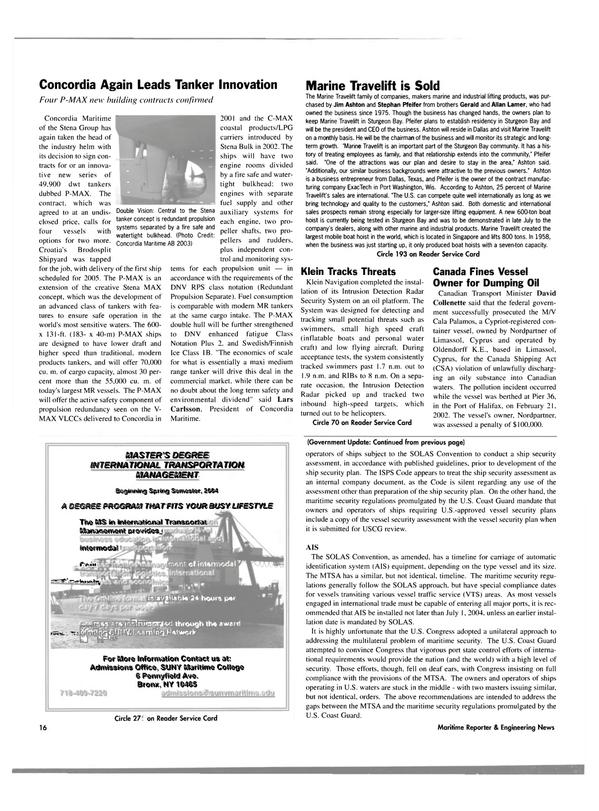 Maritime Reporter Magazine, page 16,  Aug 2003