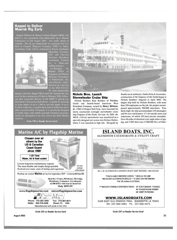 Maritime Reporter Magazine, page 23,  Aug 2003