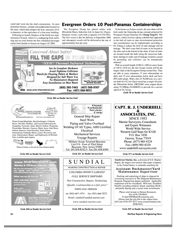 Maritime Reporter Magazine, page 24,  Aug 2003
