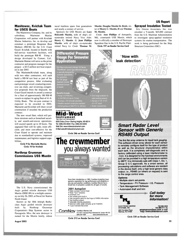 Maritime Reporter Magazine, page 29,  Aug 2003