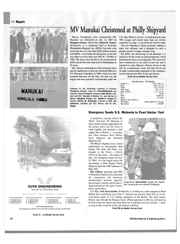 Maritime Reporter Magazine, page 30,  Aug 2003