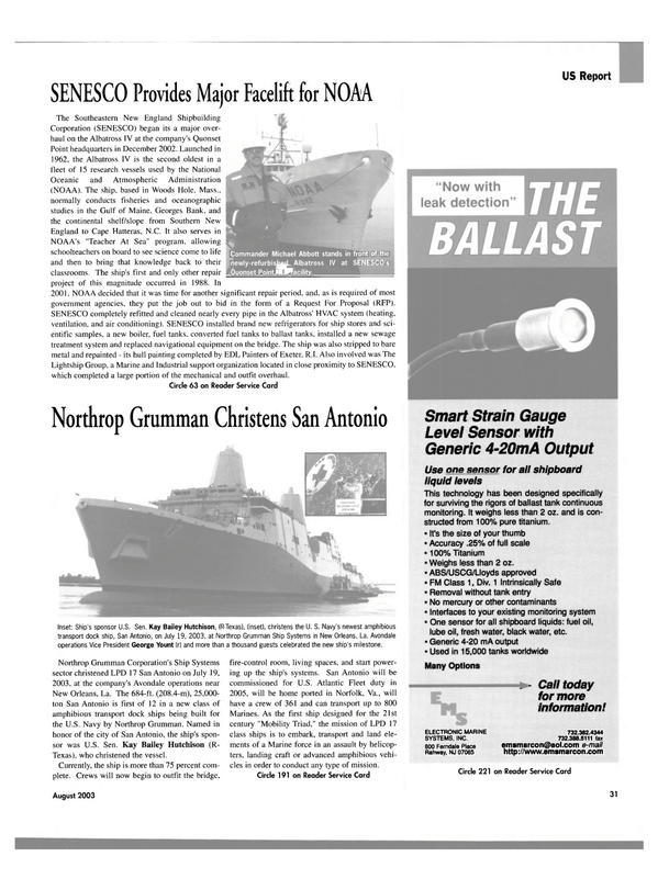 Maritime Reporter Magazine, page 31,  Aug 2003
