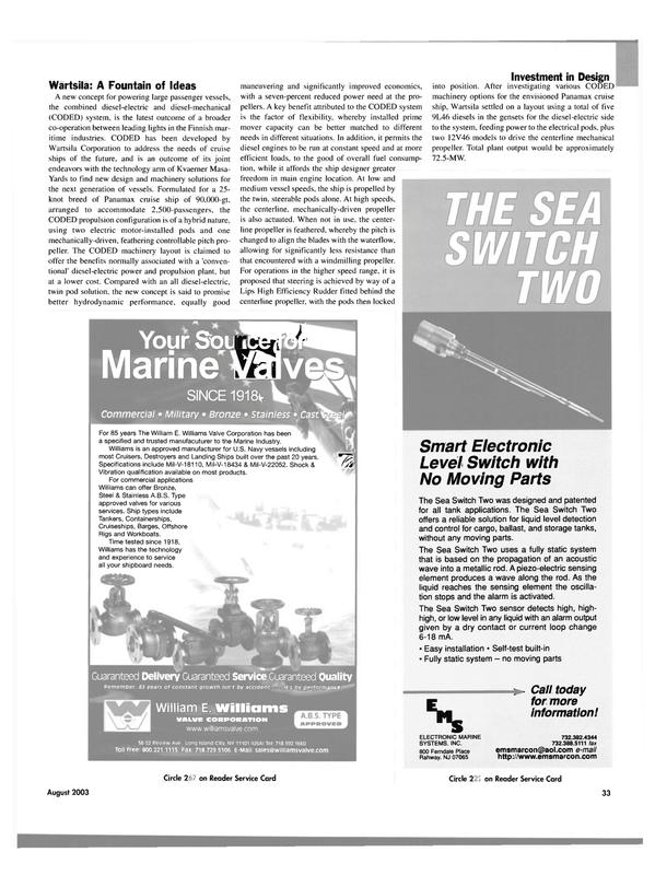 Maritime Reporter Magazine, page 33,  Aug 2003