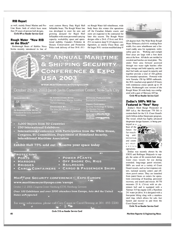 Maritime Reporter Magazine, page 40,  Aug 2003