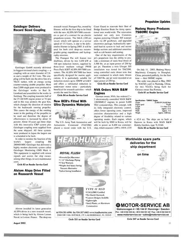 Maritime Reporter Magazine, page 51,  Aug 2003