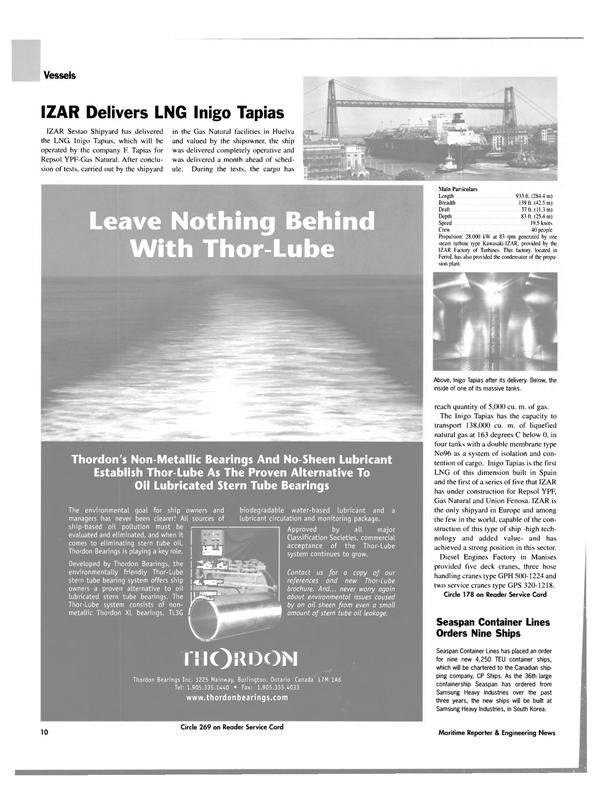 Maritime Reporter Magazine, page 10,  Sep 2003