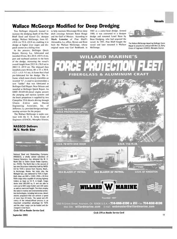 Maritime Reporter Magazine, page 11,  Sep 2003