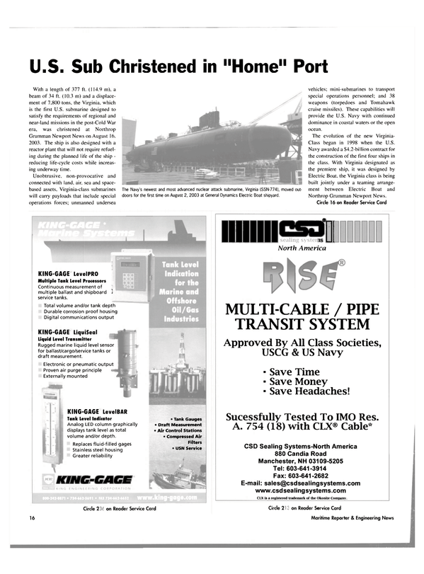 Maritime Reporter Magazine, page 16,  Sep 2003
