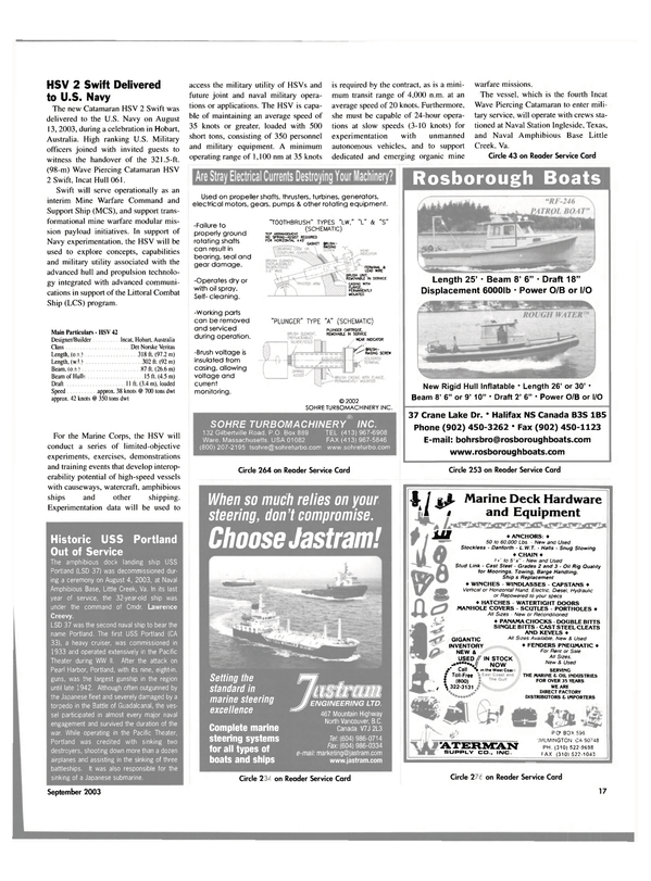 Maritime Reporter Magazine, page 17,  Sep 2003