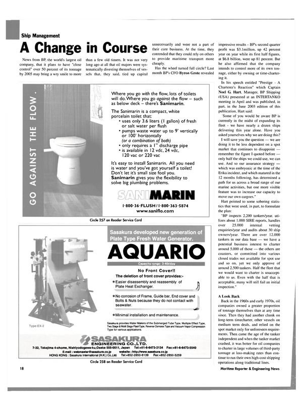 Maritime Reporter Magazine, page 18,  Sep 2003