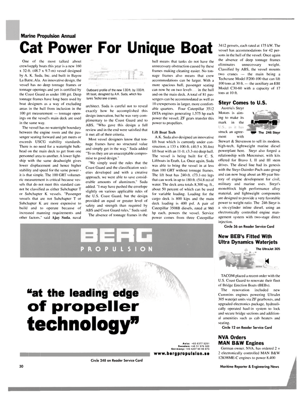 Maritime Reporter Magazine, page 30,  Sep 2003 Cat power