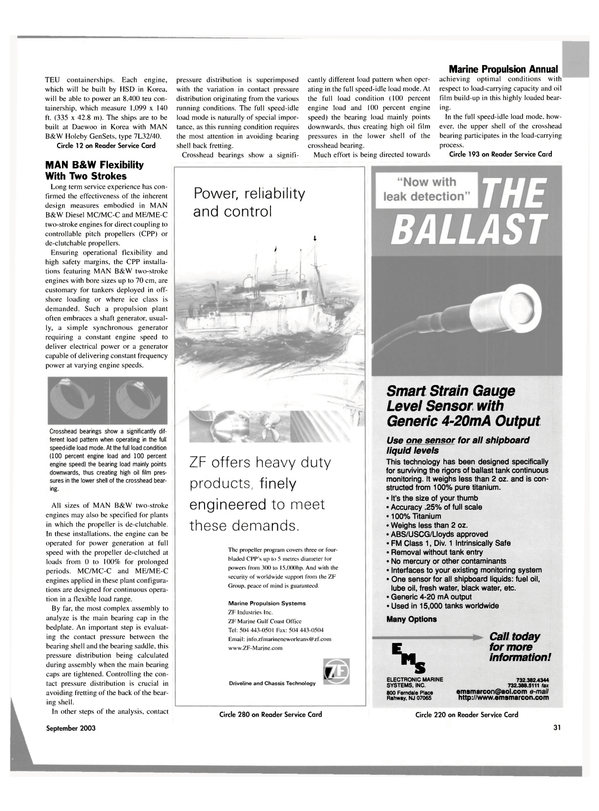 Maritime Reporter Magazine, page 31,  Sep 2003 Marine Propulsion Systems ZF Industries Inc. ZF Marine Gulf Coast Office