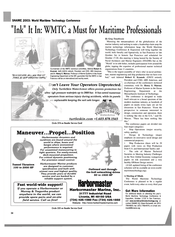 Maritime Reporter Magazine, page 34,  Sep 2003
