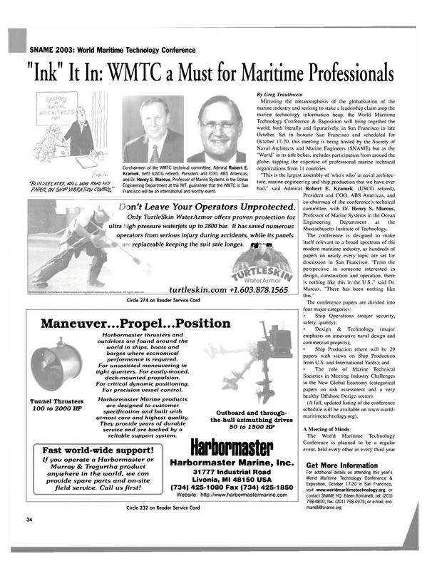 Maritime Reporter Magazine, page 34,  Sep 2003 Greg Trauthwein Mirroring