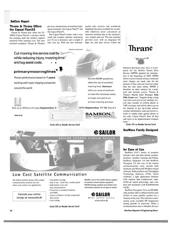 Maritime Reporter Magazine, page 42,  Sep 2003 Samson