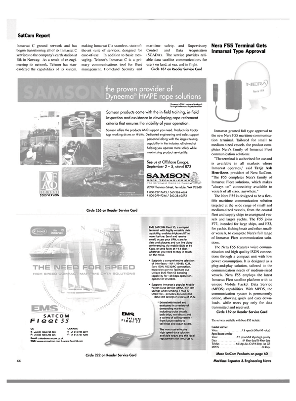 Maritime Reporter Magazine, page 44,  Sep 2003 video conferencing