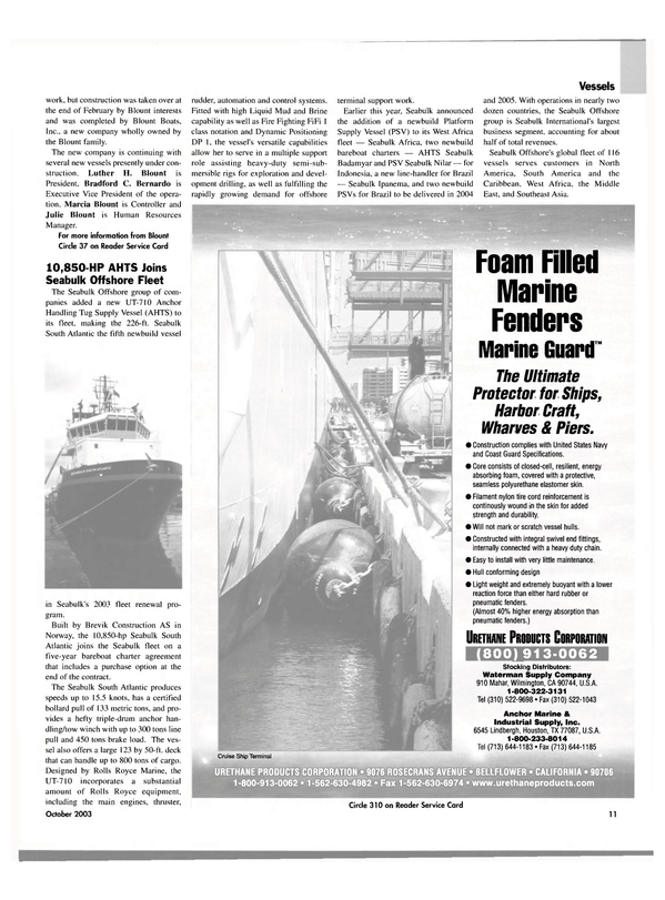 Maritime Reporter Magazine, page 11,  Oct 2003