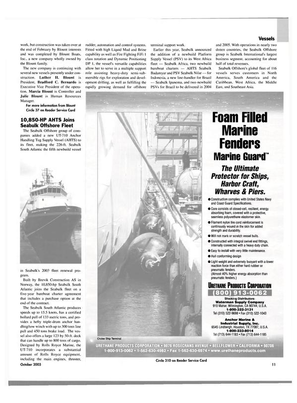 Maritime Reporter Magazine, page 11,  Oct 2003 California