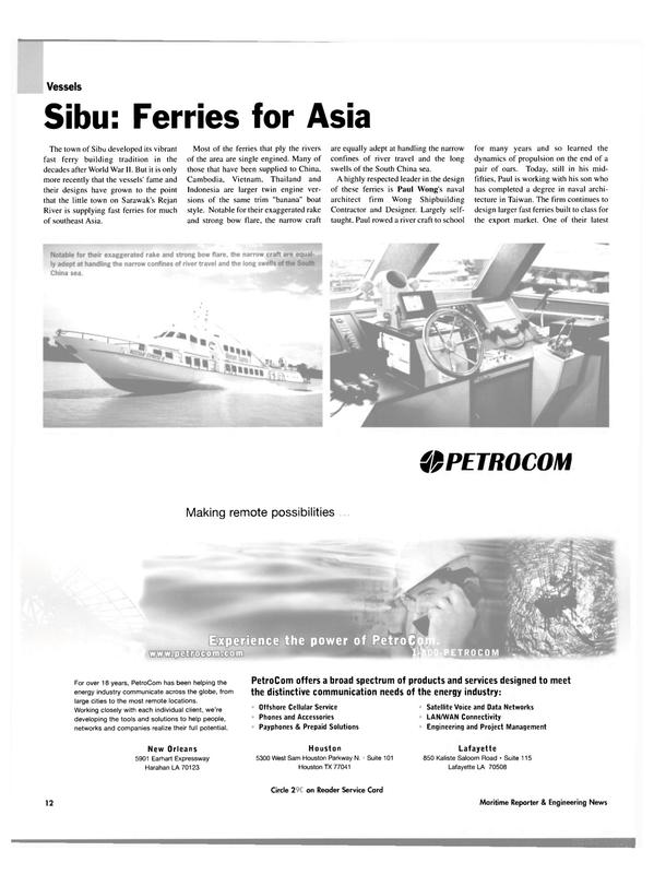 Maritime Reporter Magazine, page 12,  Oct 2003