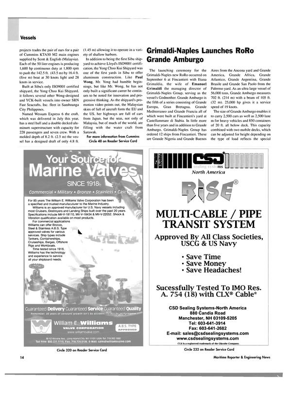 Maritime Reporter Magazine, page 14,  Oct 2003