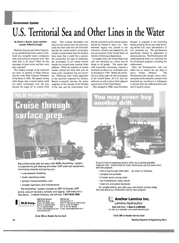 Maritime Reporter Magazine, page 16,  Oct 2003 Territorial Sea