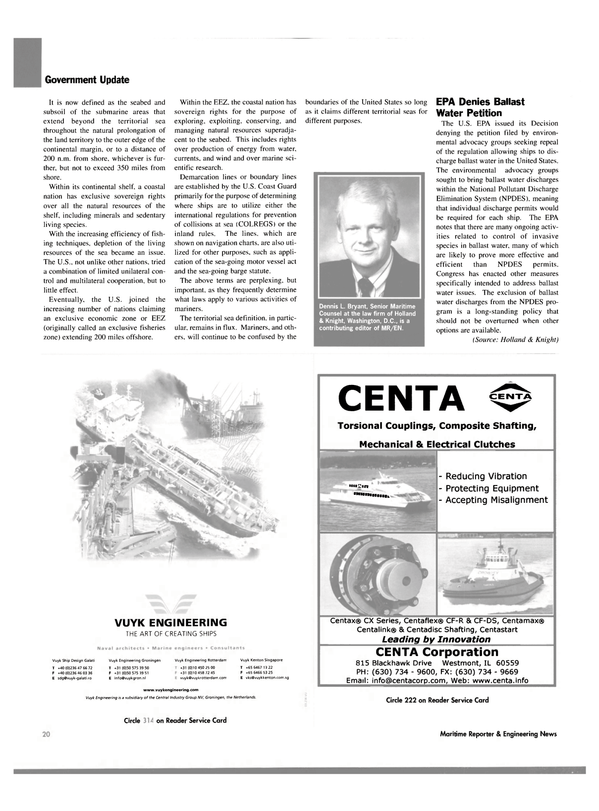Maritime Reporter Magazine, page 22,  Oct 2003 Congress