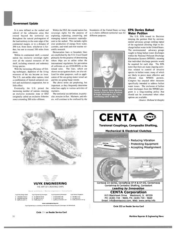 Maritime Reporter Magazine, page 22,  Oct 2003