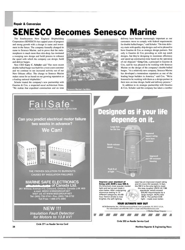 Maritime Reporter Magazine, page 30,  Oct 2003 Ontario