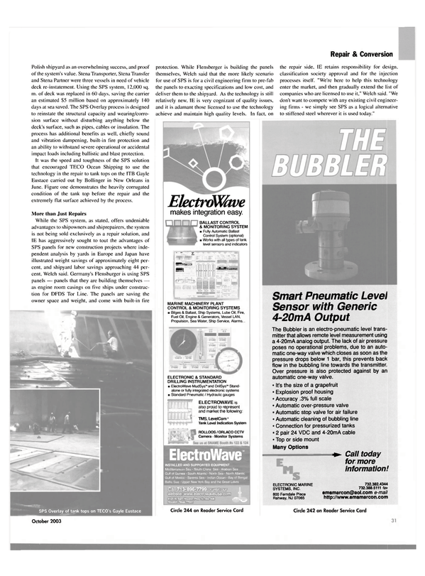 Maritime Reporter Magazine, page 33,  Oct 2003