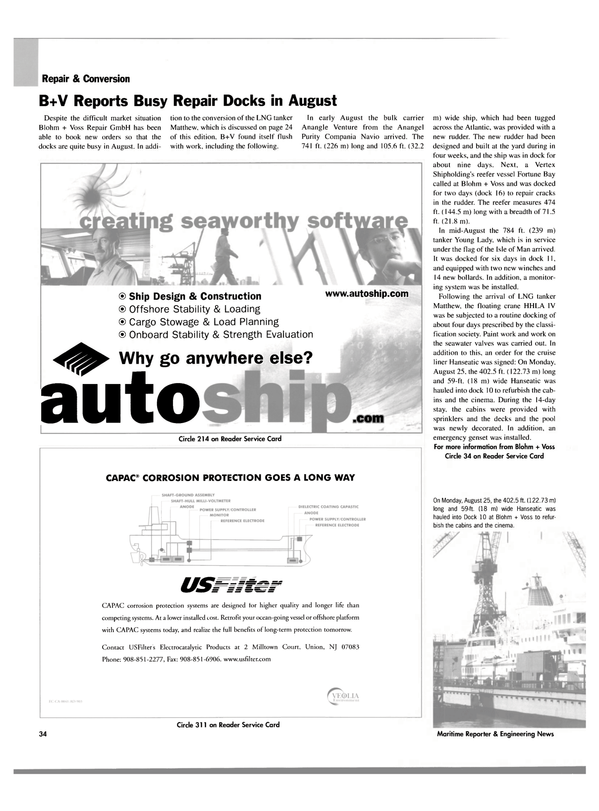Maritime Reporter Magazine, page 36,  Oct 2003 Fortune Bay