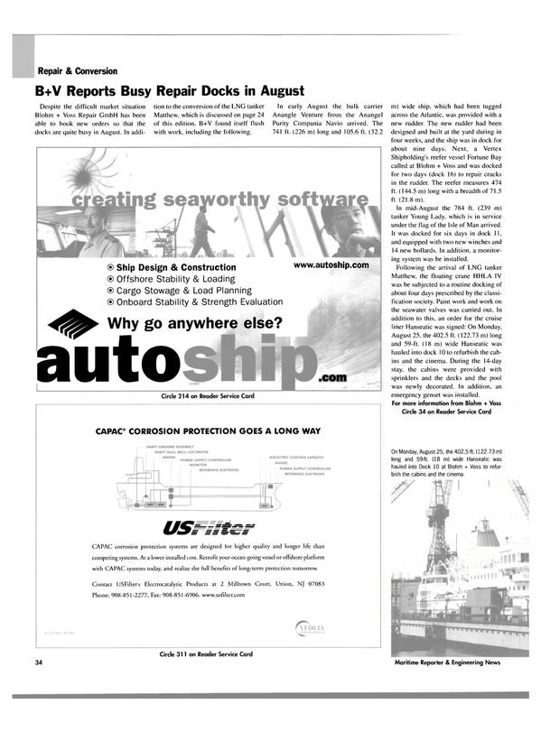 Maritime Reporter Magazine, page 36,  Oct 2003