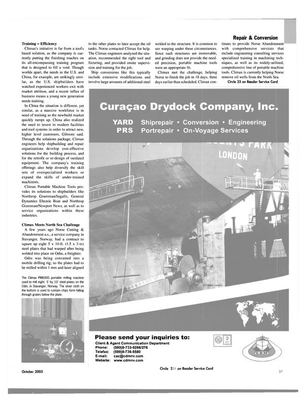 Maritime Reporter Magazine, page 39,  Oct 2003 North Sea