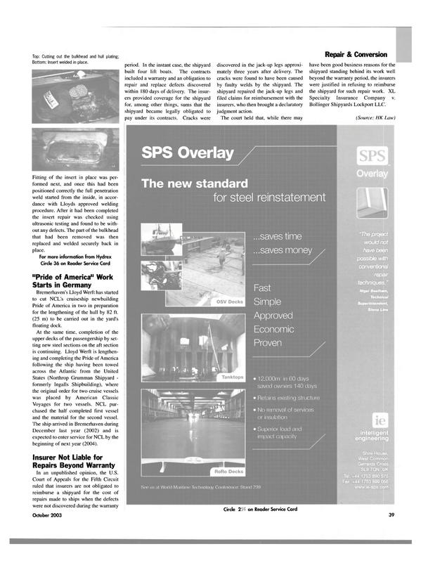 Maritime Reporter Magazine, page 41,  Oct 2003 Stena Line