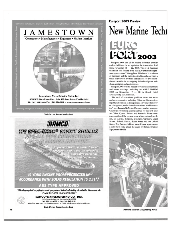 Maritime Reporter Magazine, page 48,  Oct 2003