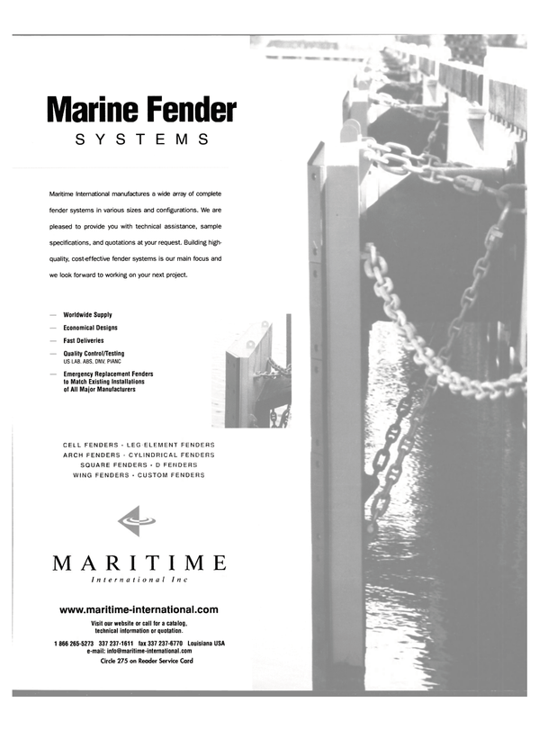 Maritime Reporter Magazine, page 51,  Oct 2003 MARINE FENDER SYSTEMS