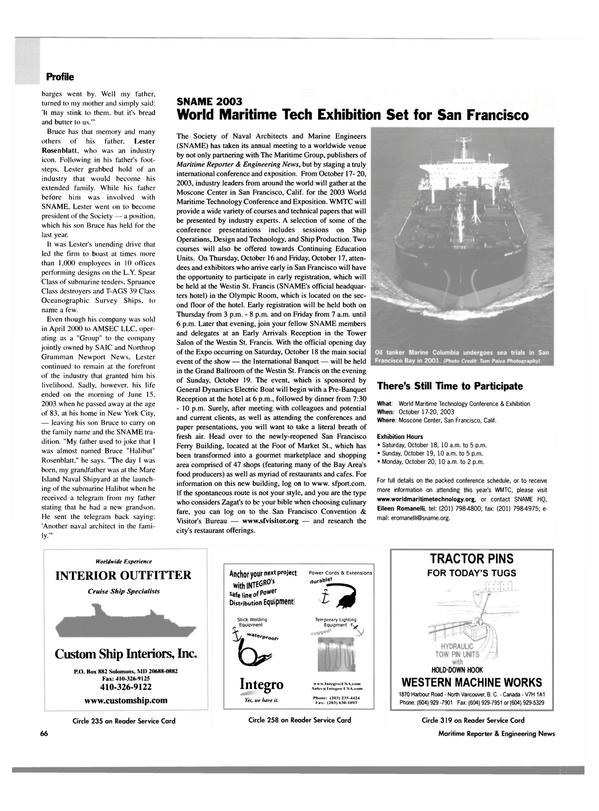Maritime Reporter Magazine, page 68,  Oct 2003 Eileen Romanelli