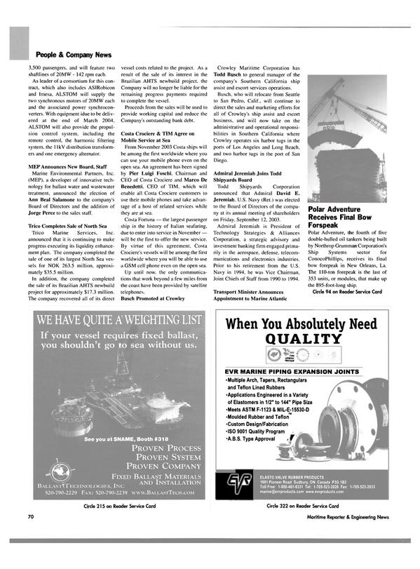 Maritime Reporter Magazine, page 72,  Oct 2003