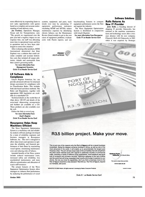 Maritime Reporter Magazine, page 77,  Oct 2003