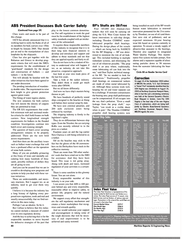 Maritime Reporter Magazine, page 82,  Oct 2003