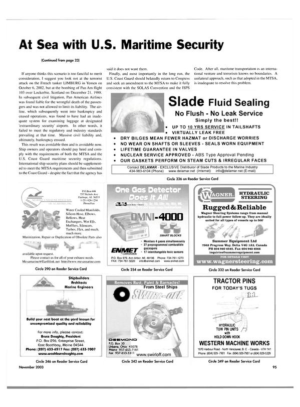 Maritime Reporter Magazine, page 98,  Nov 2003 Leak Service